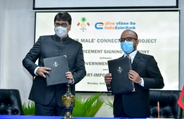 The agreement was signed by Minister of Finance Ibrahim Ameer (R) and the EXIM Bank's General Manager Nirmit Ved and Chief Manager Harish Kumar. PHOTO: NISHAN ALI / MIHAARU