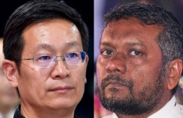Ambassador of China to Maldives Zhang Lizhong (L) and Minister of Economic Development Fayyaz Ismail: Zhang refuted the recent allegations raised by Fayyaz over the Maldives-China free trade agreement. PHOTO/MIHAARU