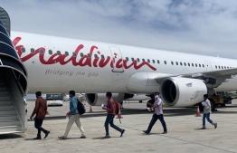 National Airline Maldivian announced the departure of its 40th repatriation flight to Dhaka, Bangladesh, carrying a total of 200 Bangladeshi nationals. PHOTO: MALDIVIAN