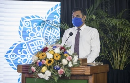 Vice President Faisal Naseem speaking at the inauguration of the higher education programme for Imams. PHOTO: MIHAARU FILES