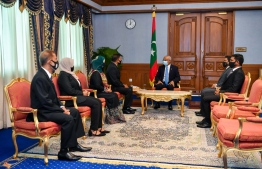 President Ibrahim Mohamed Solih and the newly appointed members of the NIC. PHOTO: PRESIDENCY MALDIVES