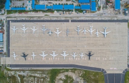 A large number of private aircraft seen parked on the Velana International Airport. PHOTO: VELANA INTERNATIONAL AIRPORT