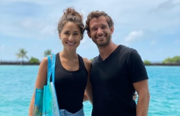 Dubai-based influencer duo Sherif Fayed and Becky Jefferies (R-L) with a combined follower base of 1.6 million, will be hosted by both PULLMAN Maldives MAamutaa and Hard Rock Hotel for five nights in the country. PHOTO: MALDIVES MARKETING AND PUBLIC RELATIONS CORPORATION