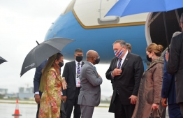 US Secretary of State Mike Pompeo being welcomed to Maldives at Velana International Airport (VIA) by Foreign Minister Shahid. PHOTO: FOREIGN MINISTRY