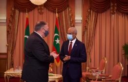 US Secretary of State Michael R. Pompeo meets President Ibrahim Mohamed Solih. PHOTO: PRESIDENT'S OFFICE