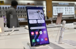 A Samsung Galaxy Note20 Ultra smartphone is displayed at the company's showroom in Seoul on October 29, 2020. (Photo by Jung Yeon-je / AFP)
