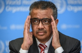 In this file photo taken on March 11, 2020 World Health Organization (WHO) Director-General Tedros Adhanom Ghebreyesus attends a daily press briefing on COVID-19 virus at the WHO headquaters in Geneva. (Photo by Fabrice COFFRINI / AFP)