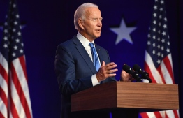 Democratic presidential nominee Joe Biden delivers remarks at the Chase Center in Wilmington, Delaware, on November 6, 2020. - Three days after the US election in which there was a record turnout of 160 million voters, a winner had yet to be declared. (Photo by Angela Weiss / AFP)