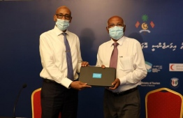 UNICEF donated equipment worth MVR 1.73 million for the Maldivian COVID-19 response. The donation was handed over to the Minister of Health Ahmed Naseem (R). PHOTO: UNICEF
