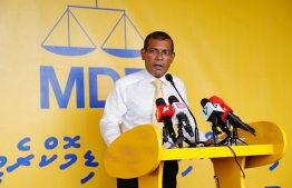 Parliament Speaker Mohamed Nasheed speaking at the main hub of the Maldivian Democratic Party (MDP). PHOTO: MDP