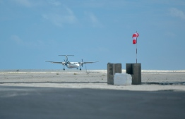An airplane on the runway of Hoarafushi Airport, during the opening ceremony of the airport -- Photo: Ahmed Awshan Ilyas/ Mihaaru