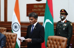 Maldivian High Commissioner to India Dr Hussain Niyaz (C) accompanied by First Secretary Ahmed Suzil (L) and Defence Advisor Colonel Ahmed Thohir. PHOTO: MINISTRY OF FOREIGN AFFAIRS