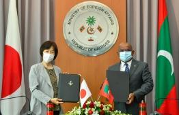 Foreign Minister Abdulla Shahid (R) and Japanese Ambassador to Maldives Keiko Yanai. PHOTO: AHMED AWSHAN ILYAS/ MIHAARU