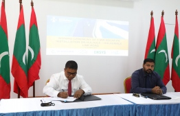 Minister of Environment  Dr Hussain Rasheed Hassan during the signing ceremony held at the Ministry of Environment. PHOTO: MINISTRY OF ENVIRONMENT