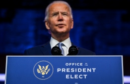 US President-elect Joe Biden speaks during a cabinet announcement event in Wilmington, Delaware, on November 24, 2020.  (Photo by CHANDAN KHANNA / AFP)