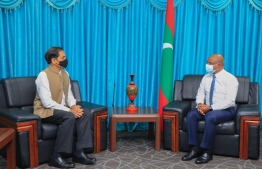 Minister of Foreign Affairs Abdulla Shahid and India High Commissioner of India (L). PHOTO: MINISTRY OF FOREIGN AFFAIRS