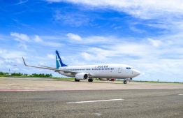 A SilkAir flight at Velana International Airport. PHOTO: MACL