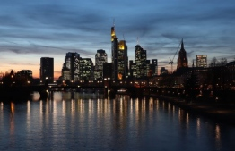 (FILES) This file photo taken on February 18, 2019 shows the skyline of Frankfurt am Main. - Hubertus Vaeth was branded crazy when he first announced plans for the Frankfurt promotion initiative he is heading to campaign for banks to move their businesses to the German financial capital after Brexit. (Photo by Yann Schreiber / AFP)