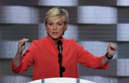 (FILES) In this file photo taken on July 28, 2016 former Michigan Governor Jennifer Granholm addresses delegates on the fourth and final day of the Democratic National Convention at Wells Fargo Center in Philadelphia, Pennsylvania. - US President-elect Joe Biden is planning to nominate Jennifer Granholm, a former Michigan governor and strong clean energy advocate experienced in dealing with major automakers, as his energy secretary, US media reported on December 15, 2020. (Photo by SAUL LOEB / AFP)