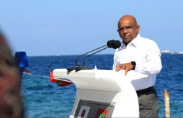 Minister of Foreign Affairs Abdulla Shahid speaking at the special event held on the occasion of National Unity Day: He has flown to India on their request -- Photo: Foreign Ministry