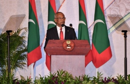 President Ibrahim Mohamed Solih speaking at the 2020 National Award ceremony 2020. PHOTO: MIHAARU