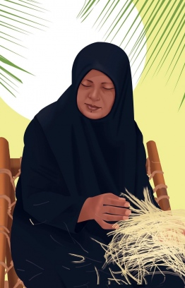 """Khadheeja Mohamed, who passed away at the age of 47, from ovarian cancer on June 30, 2020: """"...she worked from home to support the family, by cooking fish, weaving palm thatch, and making coir-rope"""". IMAGE/AISHA MANIKE"""