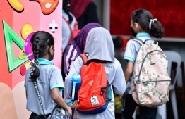 Students attending school after the government kicked off the academic year in January. PHOTO: MIHAARU