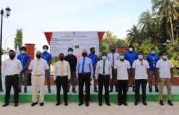 Officials, including MWSC's Chairman, MD and Induraidhoo MP, gathered at Kinolhas, Raa Atoll for the groundbreaking ceremony for the project to install the island's own water and sewerage system. PHOTO: MWSC