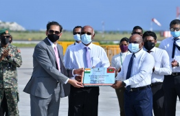 High Commissioner Sunjay Sudhir hands over shipment to Maldives. PHOTO: INDIAN HGH COMMISSION