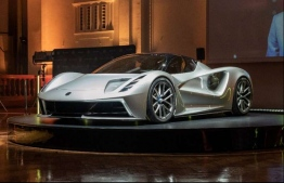 The Evija, seen here at an event in London in July 2019, is Lotus's first electric car. PHOTO: TECH EXPLORE / LOTUS