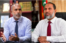 Current Adhaalath leader and Home Minister Imran Abdulla (R) faces competition from Islamic Minister Ali Zahir (L) in the race for party leadership. Elections are slated for January 31, 2021. PHOTO: MIHAARU