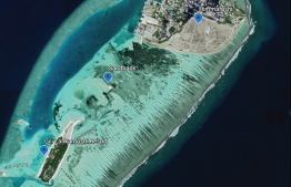 An aerial photograph depicting the sandbank which Gili Lankanfushi Resort attempted to dredge recently. A collective of civil society organisations condemned the action as well as several other environmental crimes and demanded stronger action by the government. PHOTO: GOOGLE EARTH