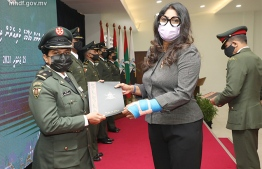 Minister of Defence Mariya Ahmed Didi at the promotion ceremony. PHOTO: MNDF