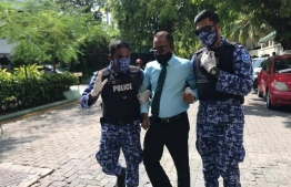 PNC's President Abdul Raheem Abdulla and Vice President Ibrahim Shujau were transferred to Dhoonodhoo Prison on Thursday. PHOTO: PPM