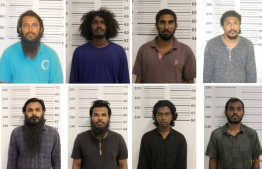 The eight suspects charged over the attempted bombing of Thimarafushi School's laboratory. The Criminal Court remanded all of them till the end of trial. PHOTO: POLICE