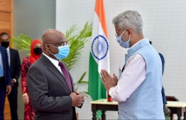 Minister of External Affairs Dr S.Subrahmanyam Jaishankar and Minister of Foreign Affairs Abdulla Shahid. PHOTO: NISHAN ALI/ MIHAARU