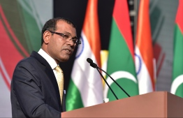Mohamed Nasheed talking at an event when Foreign Minister of India visited Maldives: Nasheed believes it is an injustice to not allow his security team to provide witness accounts regarding his assassination attack -- Photo: Niishan Ali/ Mihaaru