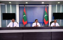 Minister of National Planning, Housing and Infrastructure Mohamed Aslam, President's Office's Spokesperson Mabrook Abdul Azeez and State Minister of National Planning and Infrastructure Akram Kamaludeen participating in the press conference. PHOTO: PRESIDENT'S OFFICE
