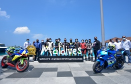 A photograph taken during the ceremony to welcome Spanish Grand Prix motorcycle racer Jorge Lorenzo Guerrero to Maldives. PHOTO: AHMED AWSHAN ILYAS/ MIHAARU