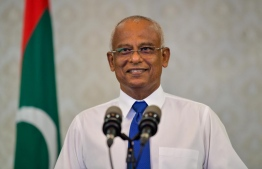 President Solih speaking to the press. PHOTO: PRESIDENTS OFFICE