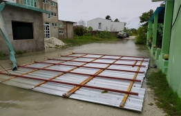 Addu and Fuvahmulah suffered flooding and damages to residences due to the heavy rainfall. PHOTO: MIHAARU