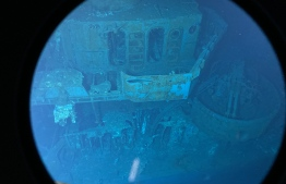 "This handout photograph taken on March 31, 2021 and released on April 3, 2021 by caladan Oceanic shows the main wreckage of the USS Johnston (DD-557), a US Navy Fletcher-class destroyer that sank during the Battle of Samar in World War II, resting on the ocean floor off Samar Island in the Philippines at a depth of nearly 6,500 metres, the deepest shipwreck ever recorded. (Photo by Handout / AFP) / RESTRICTED TO EDITORIAL USE - MANDATORY CREDIT ""AFP PHOTO / Caladan Oceanic"" - NO MARKETING NO ADVERTISING CAMPAIGNS - DISTRIBUTED AS A SERVICE TO CLIENTS - NO ARCHIVES"