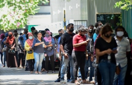 People queued outside the National Art Gallery to get the COVID vaccine — Photo:  Mihaaru