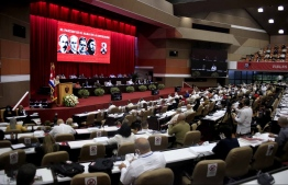 Handout picture taken from Cuban website www.cubadebate.cu showing a general view of the opening session of the 8th Congress of the Cuban Communist Party at the Convention Palace in Havana, on April 16, 2021. - The 8th Congress of the Cuban Communist Party (PCC) starting Friday will end over six decades of the government of Fidel and Raul Castro, giving way to a new generation. (Photo by - / CUBADEBATE.CU / AFP) /