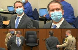 "(COMBO) This combination of pictures created on April 20, 2021 shows former Minneapolis police officer Derek Chauvin listening to the verdict and being taken away handcuffed in his trial for the killing of George Floyd, in Minneapolis, Minnesota, on April 20, 2021. - Derek Chauvin, a white former Minneapolis police officer, was convicted on April 20 of murdering African-American George Floyd after a racially charged trial that was seen as a pivotal test of police accountability in the United States. (Photos by - / various sources / AFP) / RESTRICTED TO EDITORIAL USE - MANDATORY CREDIT ""AFP PHOTO / COURT TV"" - NO MARKETING - NO ADVERTISING CAMPAIGNS - DISTRIBUTED AS A SERVICE TO CLIENTS RESTRICTED TO EDITORIAL USE - MANDATORY CREDIT ""AFP PHOTO / COURT TV"" - NO MARKETING - NO ADVERTISING CAMPAIGNS - DISTRIBUTED AS A SERVICE TO CLIENTS RESTRICTED TO EDITORIAL USE - MANDATORY CREDIT ""AFP PHOTO / COURT TV"" - NO MARKETING - NO ADVERTISING CAMPAIGNS - DISTRIBUTED AS A SERVICE TO CLIENTS RESTRICTED TO EDITORIAL USE - MANDATORY CREDIT ""AFP PHOTO / COURT TV"" - NO MARKETING - NO ADVERTISING CAMPAIGNS - DISTRIBUTED AS A SERVICE TO CLIENTS /"