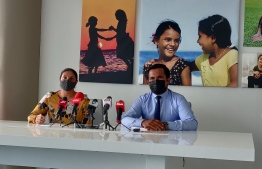 Education Minister Dr. Aishath Ali (r) and Mohamed Ihsan, who currently is managing DPE, talk to media at a press conference held on Monday -- Photo: Mihaaru