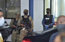Police and MNDF outside ADK after Nasheed's attack -- Photo: Nishan Ali/ Mihaaru