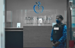 Police outside ADK Hospital following the attack on Nasheed: he requires one more essential surgery, ADK has said -- Photo: Nishan Ali/ Mihaaru