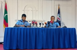 Police speak to the press after the attack on former President Mohamed Nasheed. PHOTO: SCREENGRAB