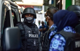 Police in gear: Police and MNDF conducted joint operations in Addu on Saturday following the terror attack on Nasheed on May 6 -- Photo: Nishan Ali/ Mihaaru